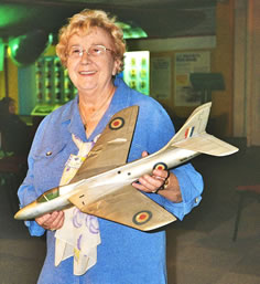 Jean Deane with prototype Hunter